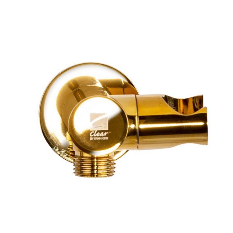 נקודת מים עגולה עם מתלה מתכוונן למזלף זהב מבריק