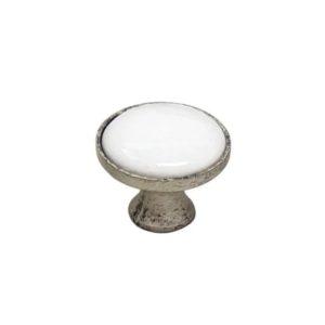 ידית כפתור פורצלן סילבר עם לבן K341