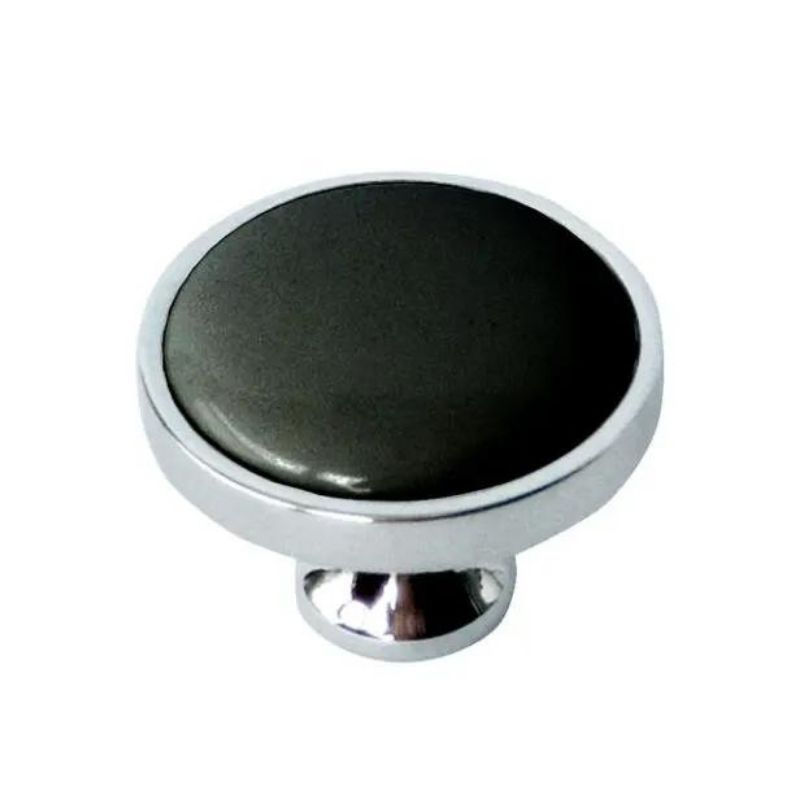 ידית כפתור פורצלן ניקל עם שחור K328