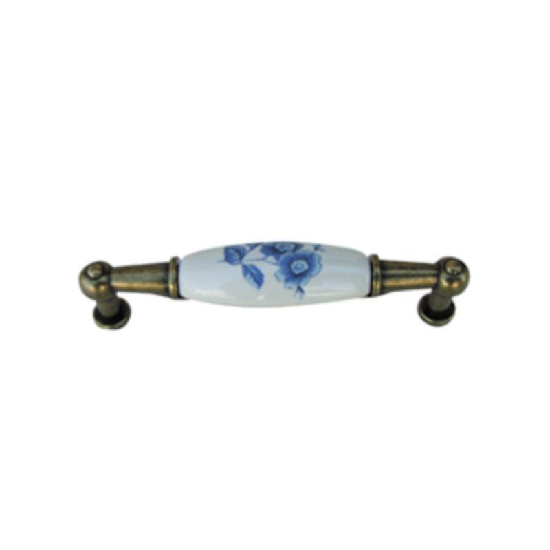 ידית פורצלן פליז/לבן פרח כחול 323
