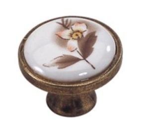 ידית כפתור פורצלן פליז/שמנת בעיטור פרח חום K341