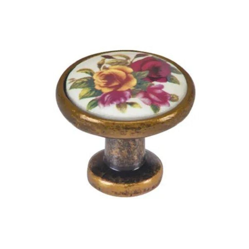 ידית כפתור פורצלן פליז/שמנת בעיטור פרח K333