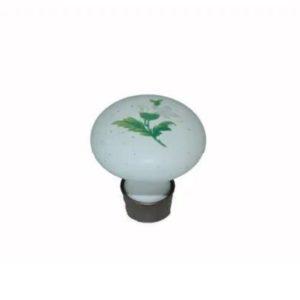 ידית כפתור פורצלן פליז/לבן פרח ירוק K373
