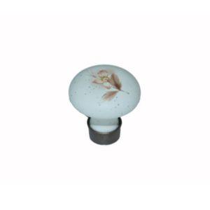 ידית כפתור פורצלן פליז/לבן פרח חום K375