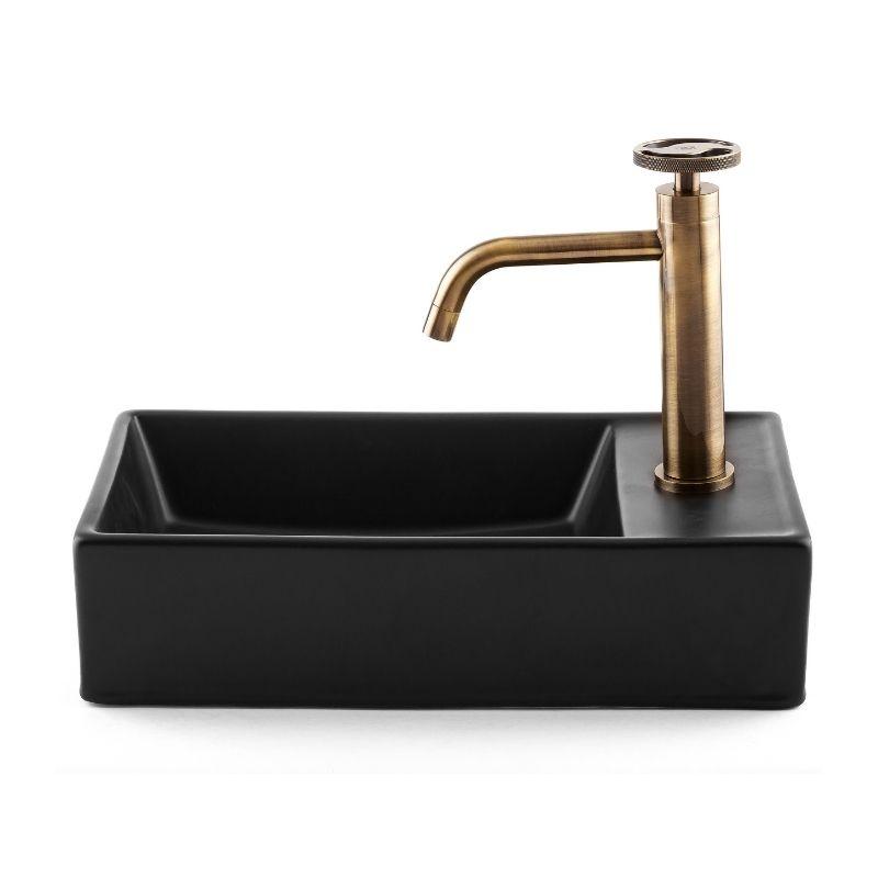כיור אמבטיה חרס מלבני מונח/תלוי 41/22 שחור מט