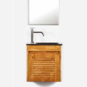 """ארון אמבטיה תלוי עץ מלא 43/25 ס""""מ"""