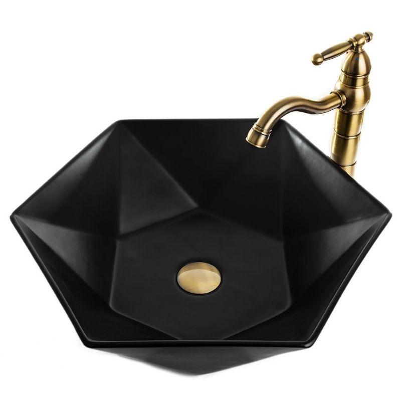 כיור אמבטיה מונח פרח 54/47 שחור מט