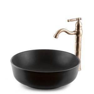 """כיור אמבטיה מונח עגול 42 ס""""מ שחור מט"""