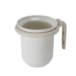 כוס למברשת שיניים תלויה עבודת יד נפחות קלאסי קרם