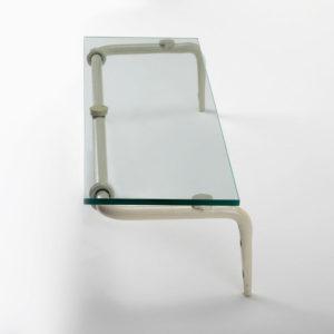 מדף זכוכית לאמבטיה 50 ס״מ נפחות קלאסי קרם