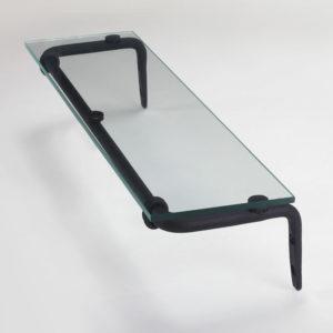 מדף זכוכית לאמבטיה 50 ס״מ נפחות קלאסי שחור חולי