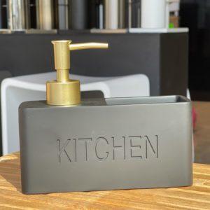 דיספנסר מטבח לסבון נוזלי שחור/זהב